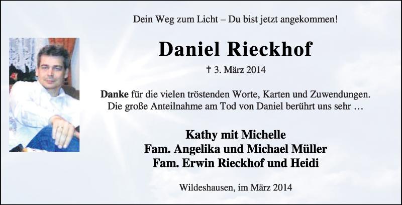 Traueranzeige für Daniel Rieckhof vom 22.03.2014 aus KRZ