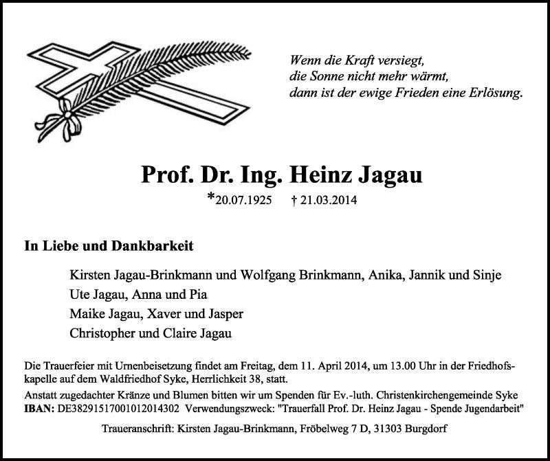 Anzeige von  Heinz Jagau