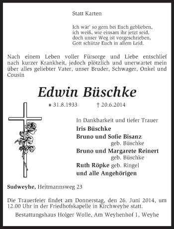 Traueranzeige für Edwin Büschke vom 24.06.2014 aus KRZ