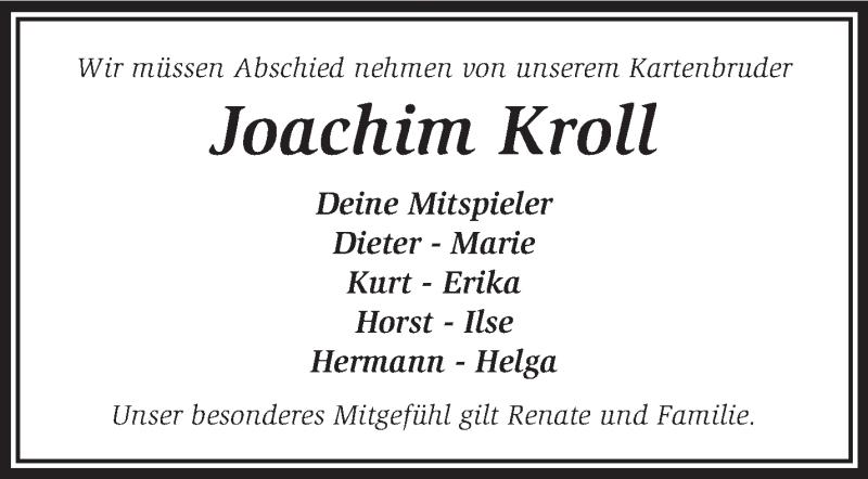 Anzeige von  Joachim Kroll