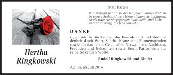 Traueranzeige für Hertha Ringkowski vom 26.07.2014 aus KRZ