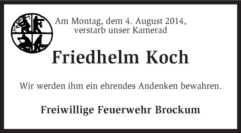 Anzeige von  Friedhelm Koch
