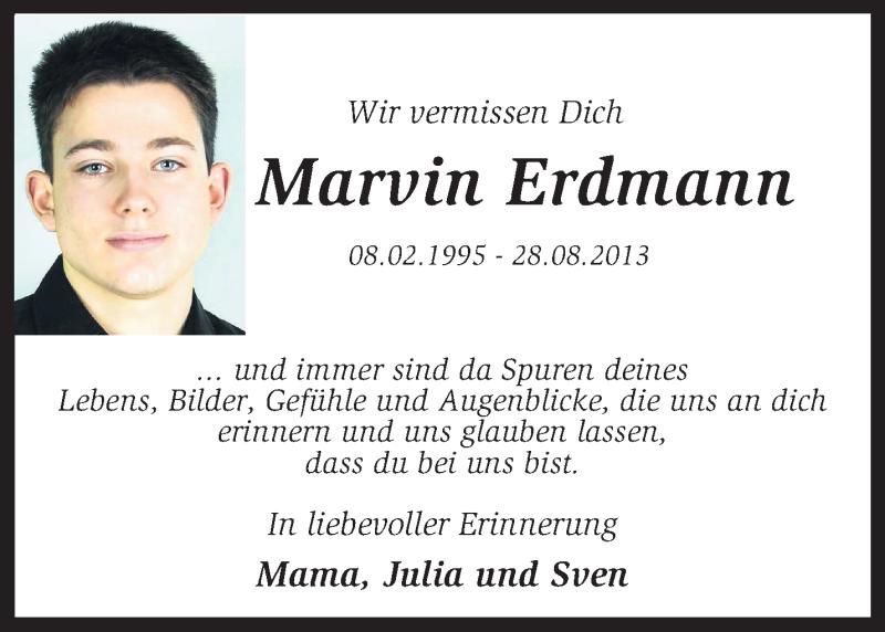 Traueranzeige für Marvin Erdmann vom 28.08.2014 aus KRZ