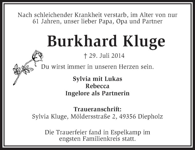 Traueranzeige für Burkhard Kluge vom 03.09.2014 aus KRZ