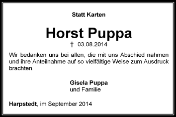 Traueranzeige von Horst Puppa von KRZ
