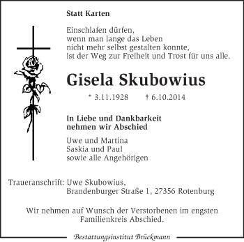 Traueranzeige von Gisela Skubowius von KRZ