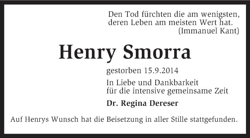 Traueranzeige für Henry Smorra vom 11.10.2014 aus KRZ
