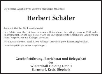Traueranzeige von Herbert Schäler von KRZ