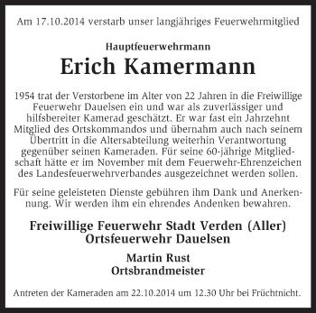 Traueranzeige von Erich Kamermann von KRZ