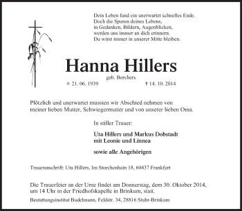 Zur Gedenkseite von Hanna