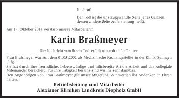 Traueranzeige von Karin Braßmeyer von KRZ