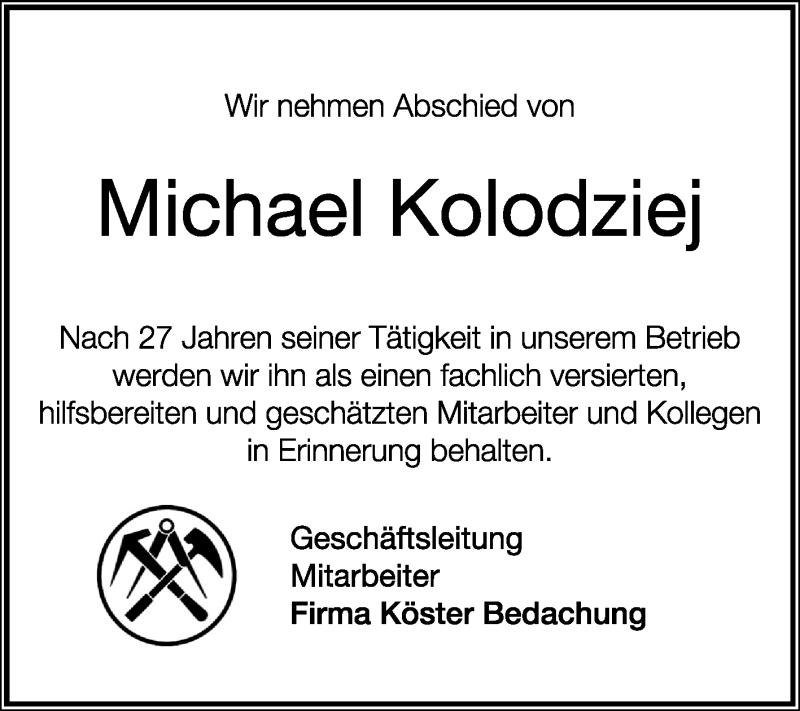 Anzeige von  Michael Kolodziej