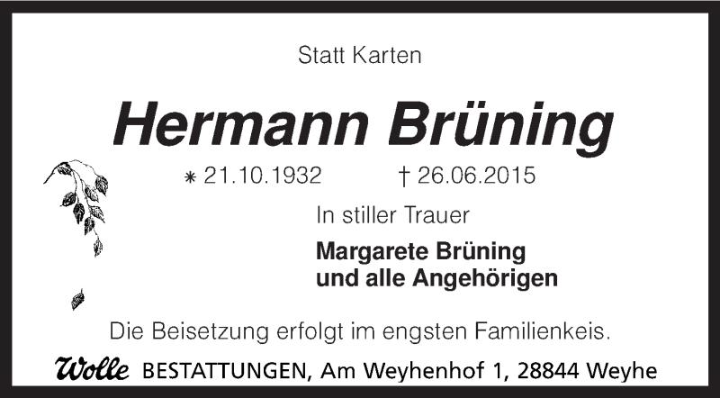 Traueranzeige für Hermann Brüning vom 30.06.2015 aus KRZ