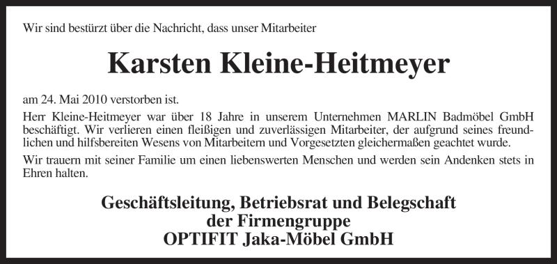 Anzeige von  Karsten Kleine-Heitmeyer