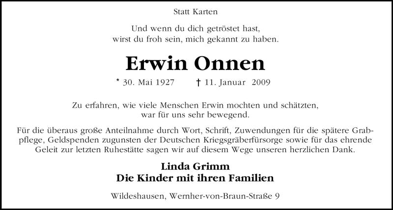 Traueranzeige für Erwin Onnen vom 13.02.2009 aus KREISZEITUNG SYKE