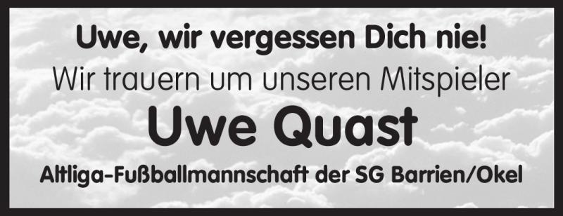 Traueranzeige für Uwe Quast vom 04.11.2009 aus KREISZEITUNG SYKE