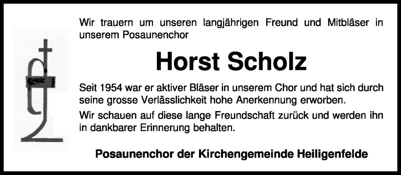 Traueranzeige für Horst Scholz vom 27.04.2011 aus KREISZEITUNG SYKE