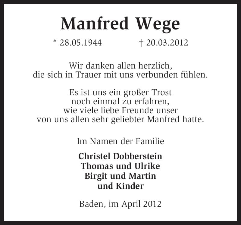Anzeige von  Manfred Wege