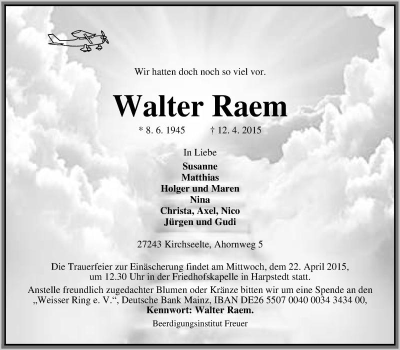 Anzeige von  Walter Raem