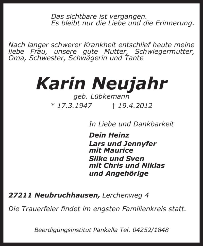Traueranzeige für Karin Neujahr vom 23.04.2012 aus KREISZEITUNG SYKE