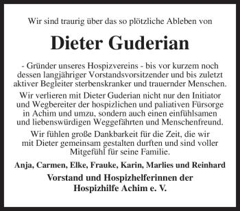 Traueranzeige für Dieter Guderian vom 14.10.2009 aus KREISZEITUNG SYKE