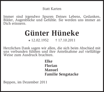 Traueranzeige von Günter Hüneke von KREISZEITUNG SYKE