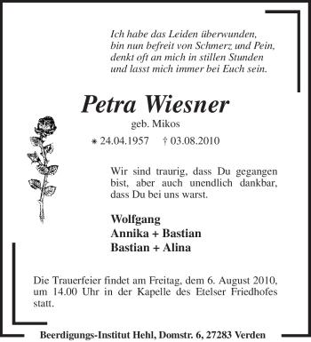 Traueranzeige von Petra Wiesner von KREISZEITUNG SYKE