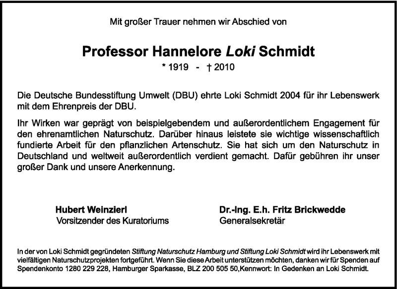 Traueranzeige für Hannelore Schmidt vom 30.10.2010 aus KREISZEITUNG SYKE