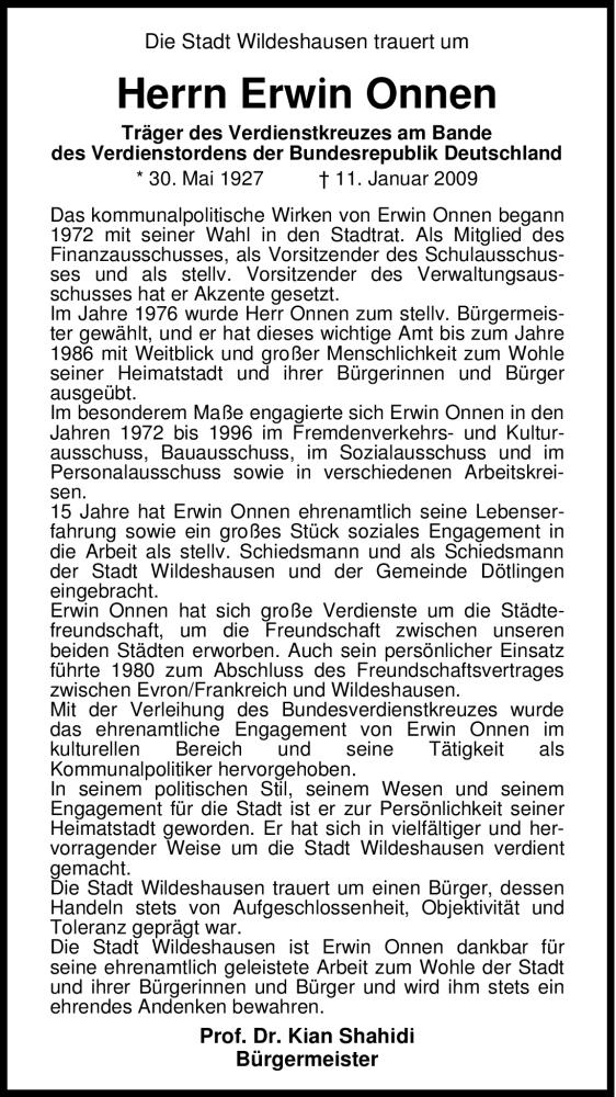 Traueranzeige für Erwin Onnen vom 14.01.2009 aus KREISZEITUNG SYKE