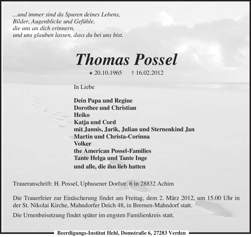Anzeige von  Thomas Possel