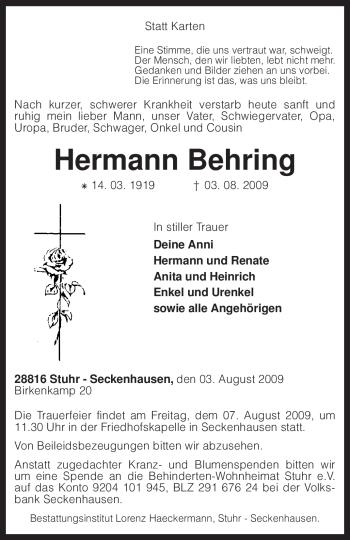 Traueranzeige von Hermann Behring von KREISZEITUNG SYKE