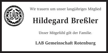 Traueranzeige von Hildegard Breßler von KREISZEITUNG SYKE