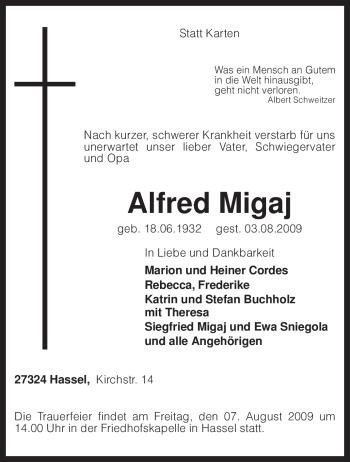Traueranzeige von Alfred Migaj von KREISZEITUNG SYKE