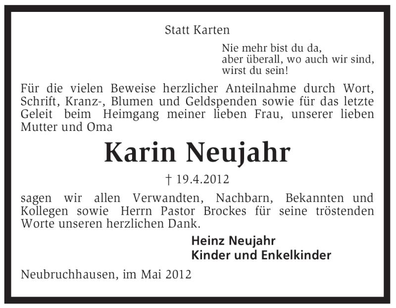 Traueranzeige für Karin Neujahr vom 19.05.2012 aus KREISZEITUNG SYKE