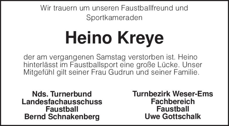 Traueranzeige für Heino Kreye vom 25.11.2009 aus KREISZEITUNG SYKE