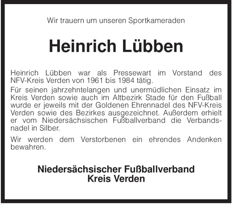 Traueranzeige für Heinrich Lübben vom 12.01.2009 aus KREISZEITUNG SYKE