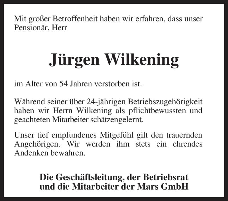 Traueranzeige für Jürgen Wilkening vom 18.06.2011 aus KREISZEITUNG SYKE