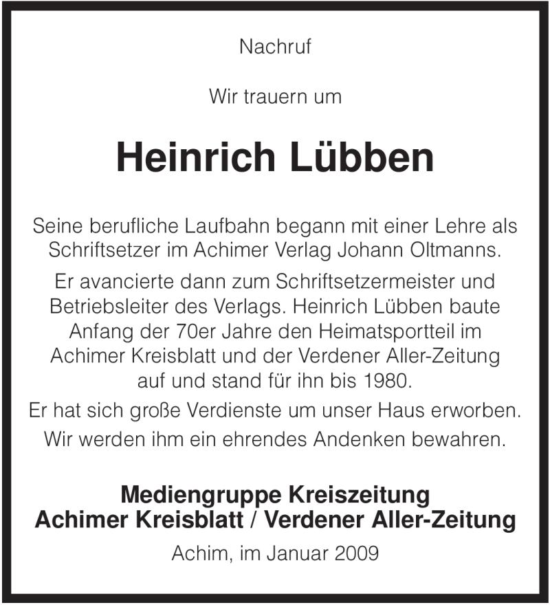 Traueranzeige für Heinrich Lübben vom 09.01.2009 aus KREISZEITUNG SYKE