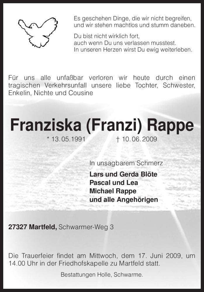 Traueranzeige für Franziska Rappe vom 12.06.2009 aus KREISZEITUNG SYKE