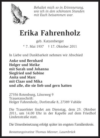 Traueranzeige von Erika Fahrenholz von KREISZEITUNG SYKE