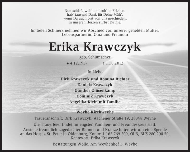 Traueranzeige für Erika Krawczyk vom 15.08.2012 aus KREISZEITUNG SYKE