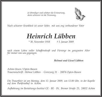 Traueranzeige für Heinrich Lübben vom 08.01.2009 aus KREISZEITUNG SYKE