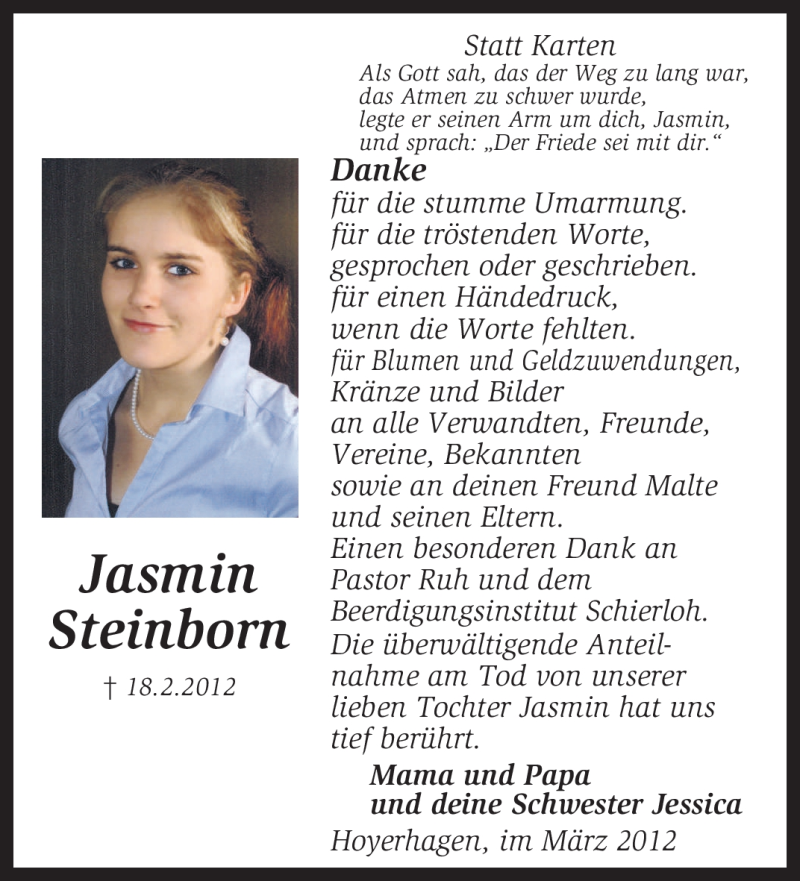 Traueranzeige für Jasmin Steinborn vom 17.03.2012 aus KREISZEITUNG SYKE