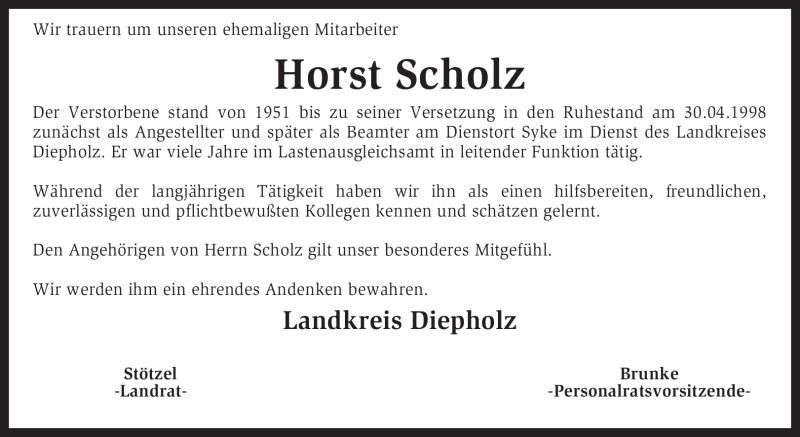 Traueranzeige für Horst Scholz vom 28.04.2011 aus KREISZEITUNG SYKE