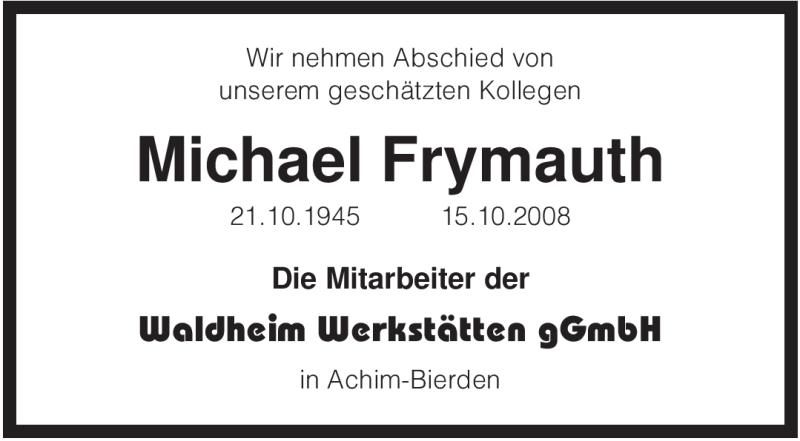 Anzeige von  Michael Frymauth