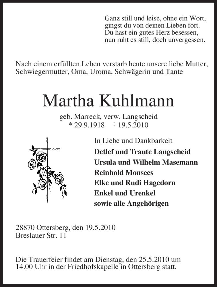 Traueranzeige für Martha Kuhlmann vom 21.05.2010 aus KREISZEITUNG SYKE