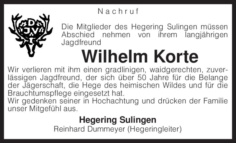 Anzeige von  Wilhelm Korte