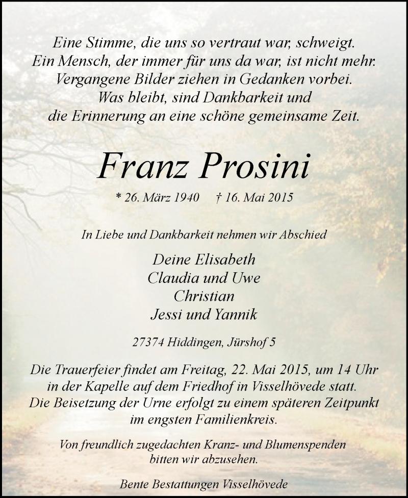 Traueranzeige für Franz Prosini vom 19.05.2015 aus KRZ