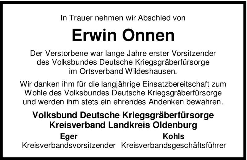 Traueranzeige für Erwin Onnen vom 14.01.2009 aus