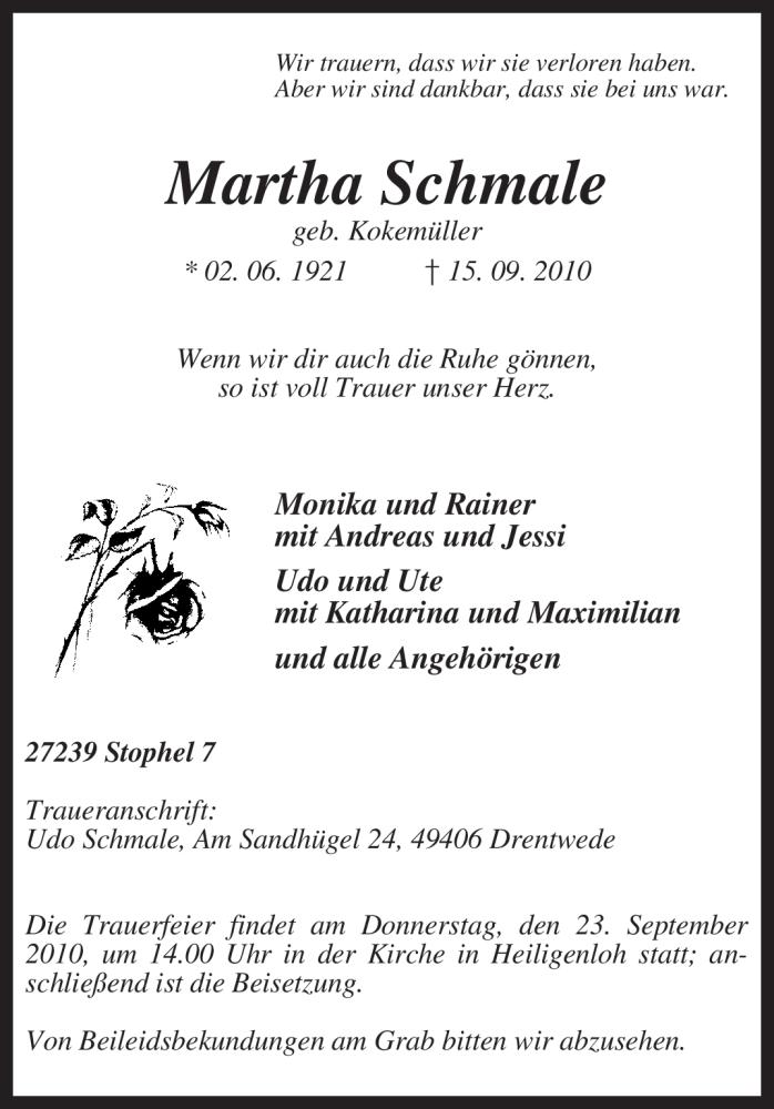 Traueranzeige für Martha Schmale vom 17.09.2010 aus KREISZEITUNG SYKE